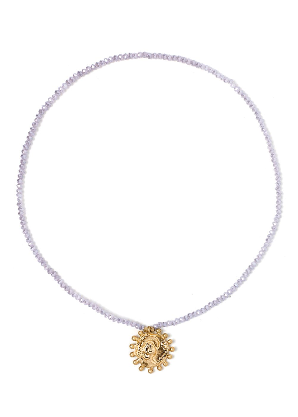 SHORT NECKLACE WITH LILAC CRYSTALS AND MEDAL