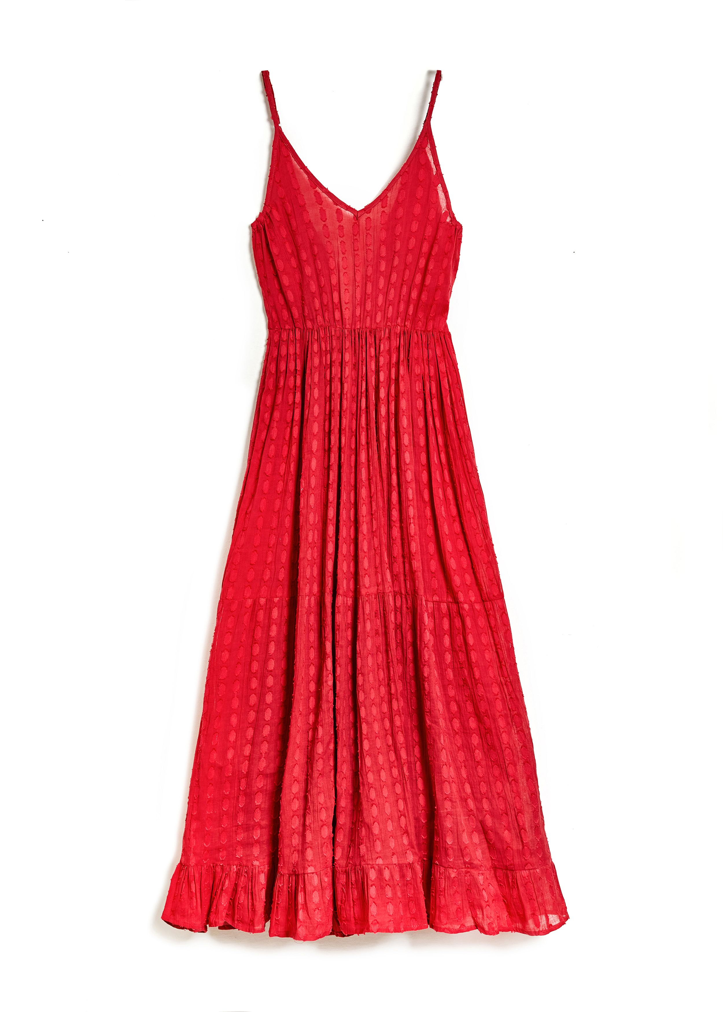LONG DRESS IN CHERRY COTTON