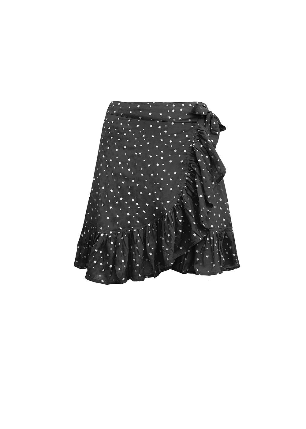 BLACK WRAP SKIRT WITH STARS