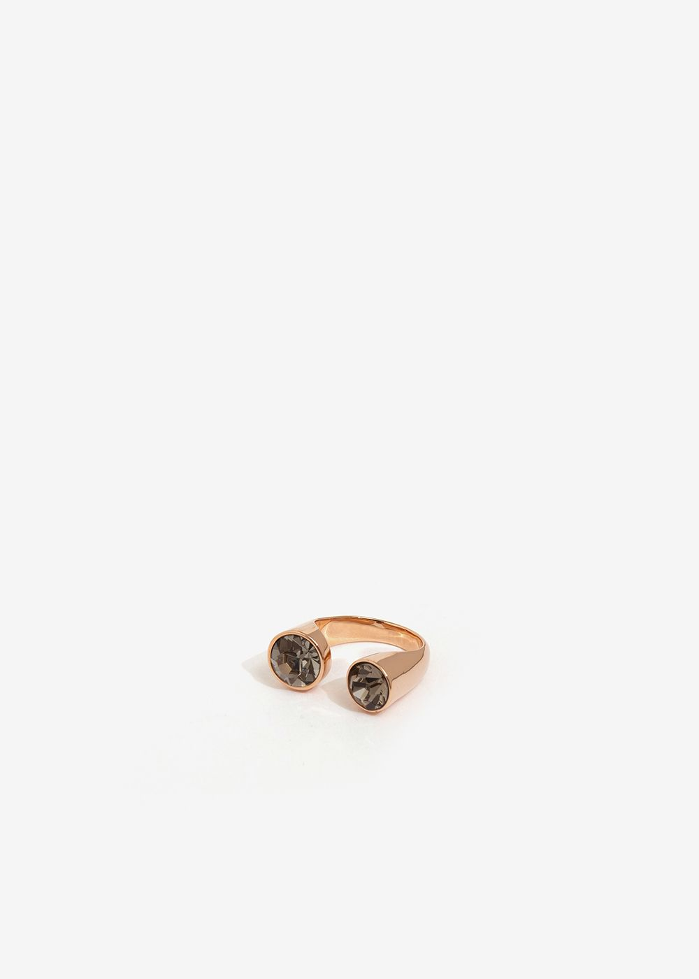 OPEN PINK GOLD RING WITH GRAY CRYSTALS