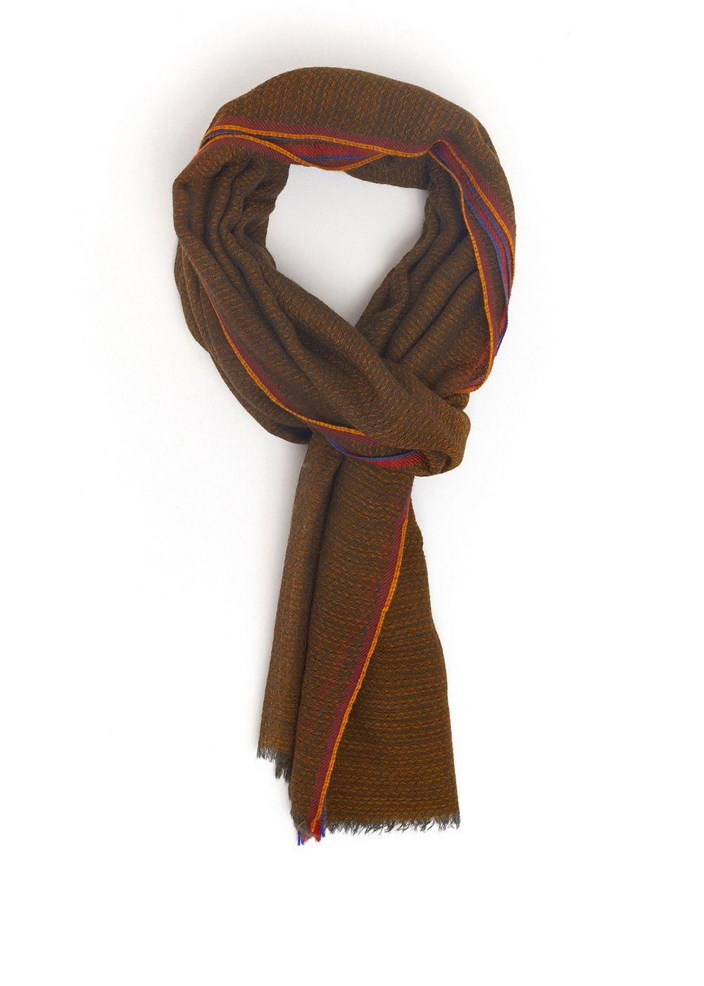 MUSTARD AND GREY WOOL SCARF