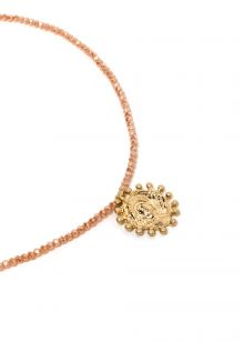 SHORT NECKLACE WITH PEACH CRYSTALS AND MEDAL