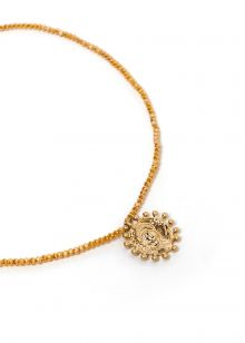 NECKLACE WITH MUSTARD CRYSTALS AND MEDAL