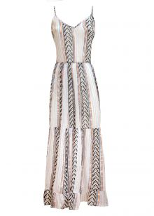 LONG DRESS WITH LAME 'PRINT