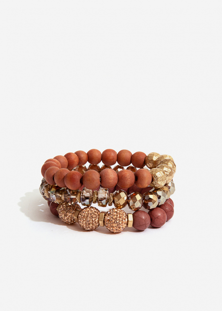 TERRACOTTA ELASTIC BRACELET SET WITH CRYSTALS