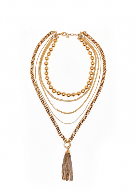 LONG MULTI-STRAND NECKLACE WITH BEADS