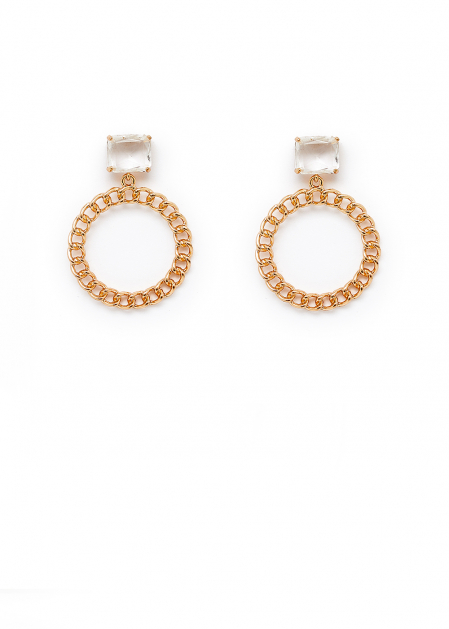 EARRINGS WITH CRYSTALS AND CHAIN HOOP