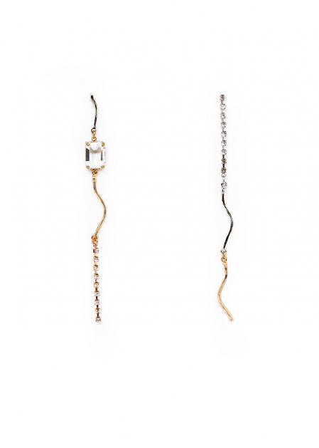 GOLD AND SILVER LONG EARRINGS