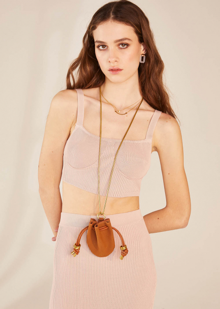 NIKOL NECKLACE WITH BROWN MICRO BAG
