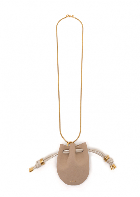 NIKOL NECKLACE WITH BEIGE MICRO BAG