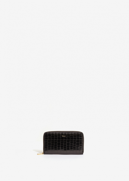 BLACK CROC-EFFECT WALLET