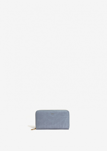 LIGHT BLUE CROC-EFFECT WALLET