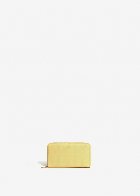 YELLOW CROC-EFFECT WALLET