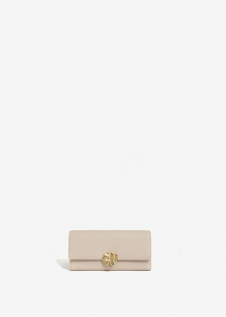 IVORY WALLET WITH GOLD PETAL