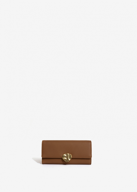 LEATHER-COLORED WALLET WITH GOLD PETAL