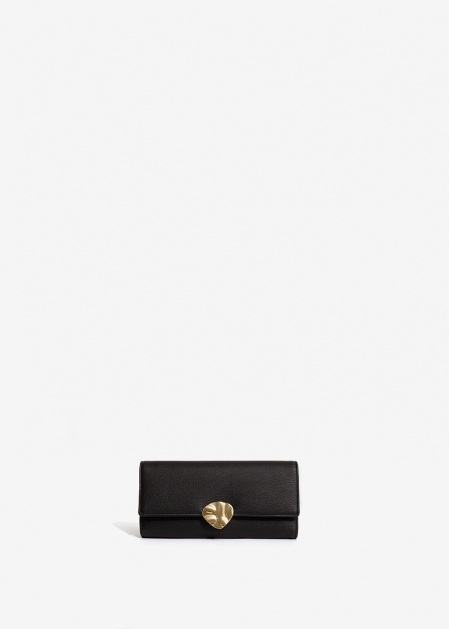 BLACK WALLET WITH GOLD PETAL