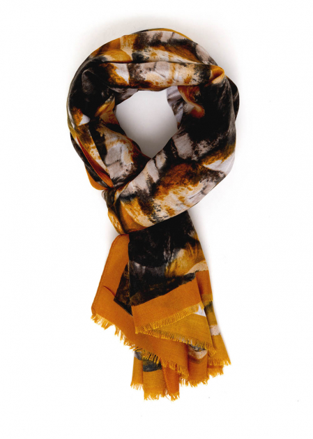 GINA SCARF WITH BLACK AND MUSTARD PRINT