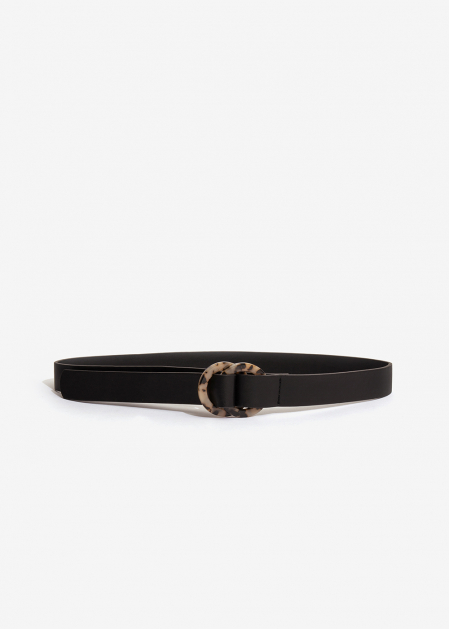BLACK BELT WITH RESIN EFFECT DOUBLE BUCKLE