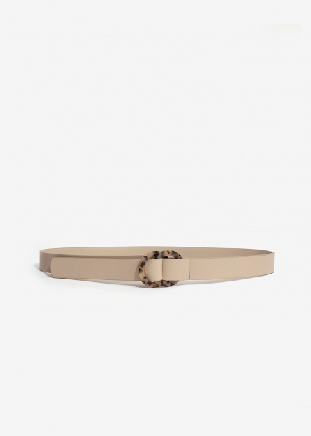 BEIGE BELT WITH RESIN EFFECT DOUBLE BUCKLE