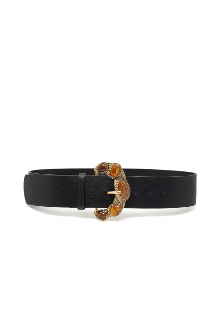 BELT W/ GOLD BUCKLE AND VEGAN PEARLS