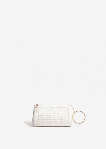 WHITE CLUTCH WITH STRAW DETAIL
