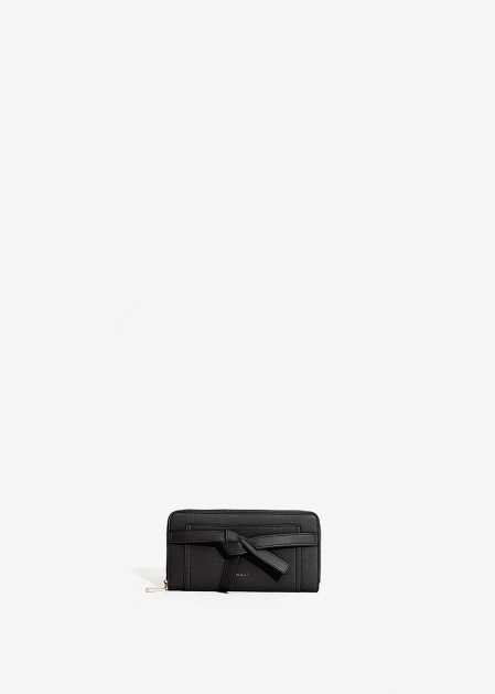 BLACK WALLET WITH KNOT DETAIL