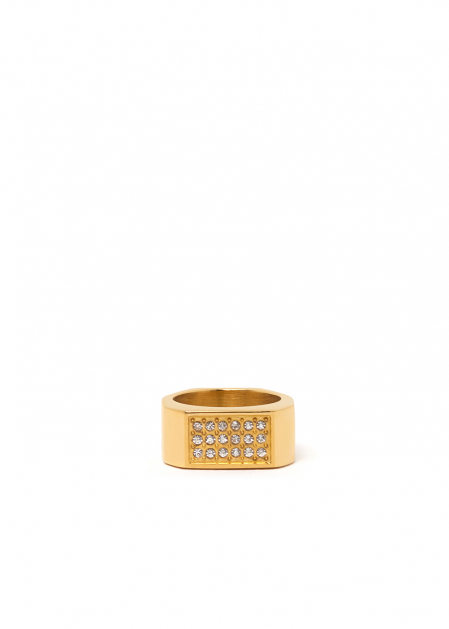 JADE GOLD RING W/ CRYSTALS STAINLESS STEEL