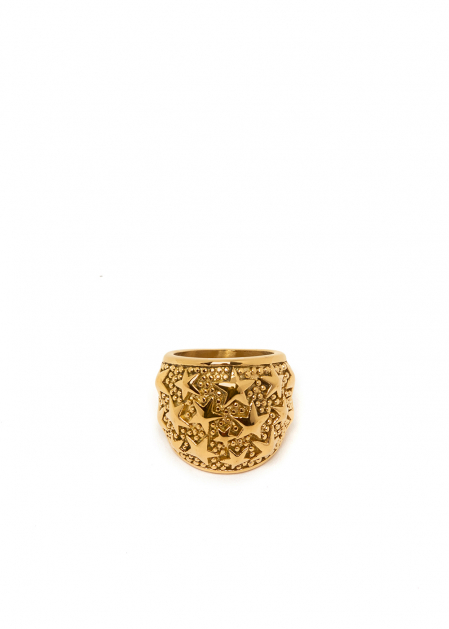 GOLD RING W/ STARS  STAINLESS STEEL