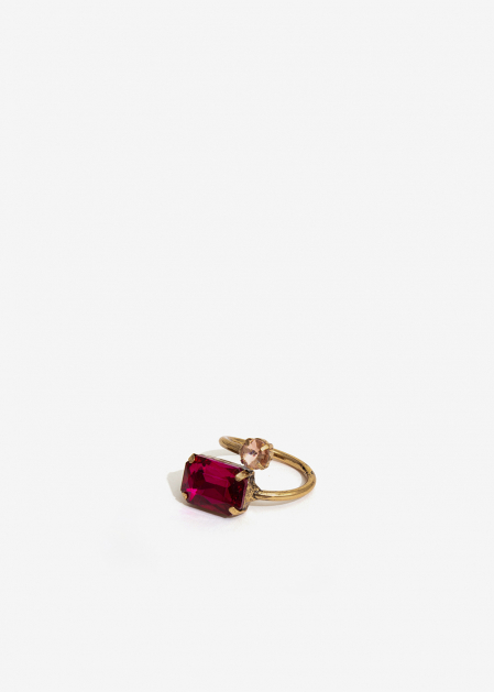 FUCHSIA AND PINK DOUBLE STONE RING
