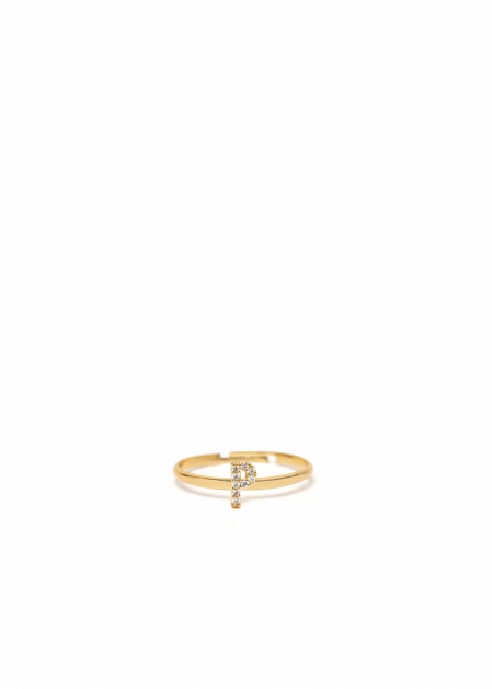 CRYSTAL RING LETTER P GOLD