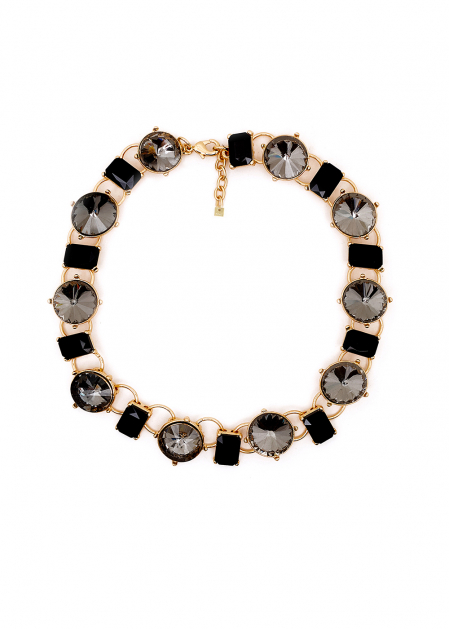 GOLD SHORT NECKLACE WITH BLACK AND GRAY STONES