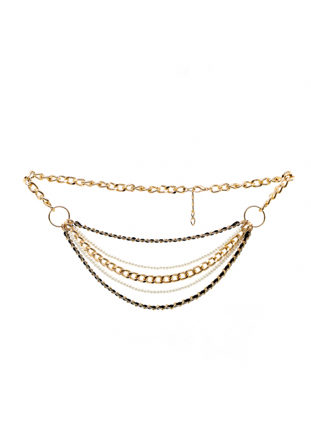 GOLD  MULTI CHAIN BELT WITH PEARLS AND VELVET