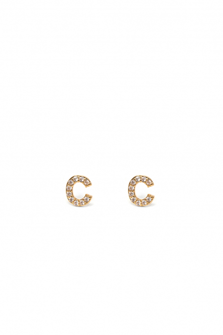 CRYSTALS STUD EARRINGS LETTER C GOLD