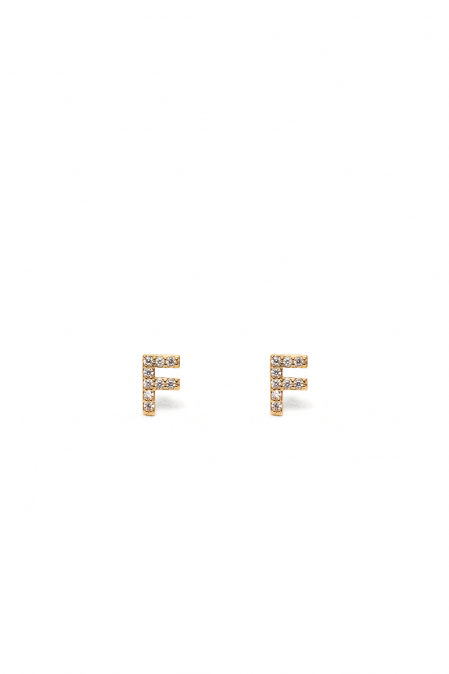 CRYSTALS STUD EARRINGS LETTER F GOLD