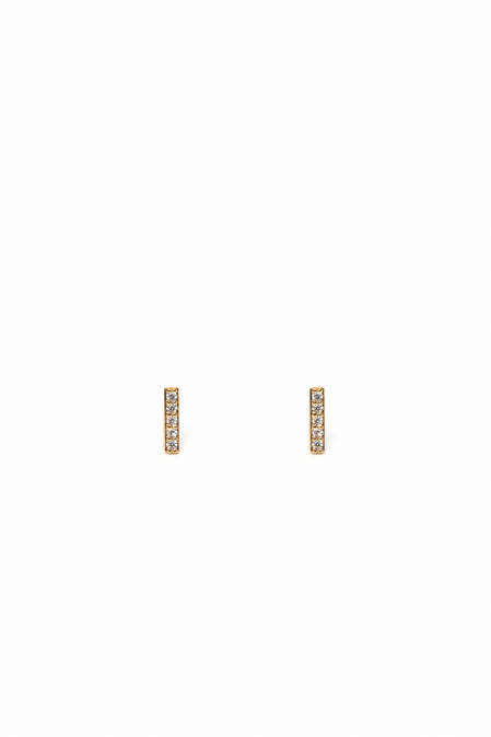 CRYSTALS STUD EARRINGS LETTER I GOLD