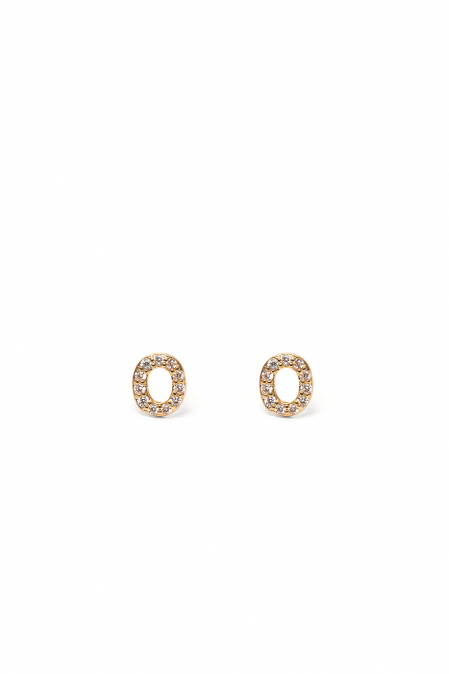 CRYSTALS STUD EARRINGS LETTER O GOLD