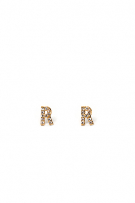 CRYSTALS STUD EARRINGS LETTER R GOLD
