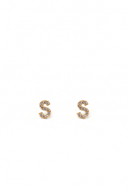 CRYSTALS STUD EARRINGS LETTER S GOLD
