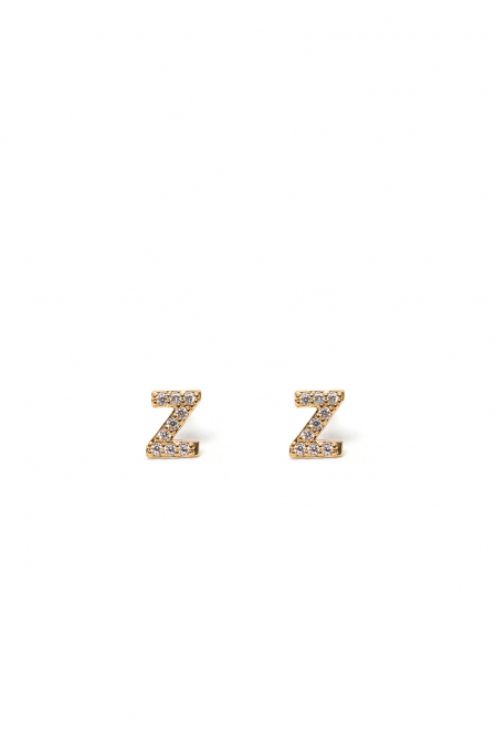 CRYSTALS STUD EARRINGS LETTER Z GOLD