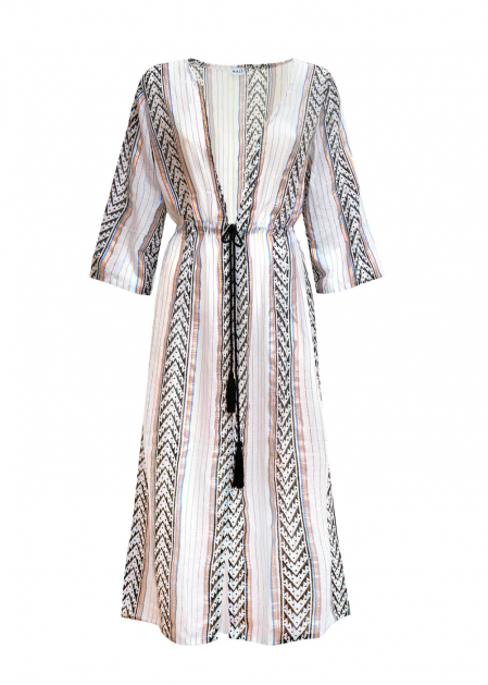 KIMONO DRESS WITH LAME' PRINT