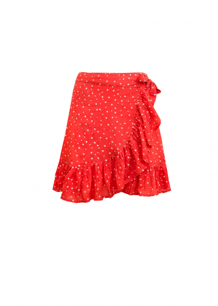 CORAL WRAP SKIRT WITH STARS