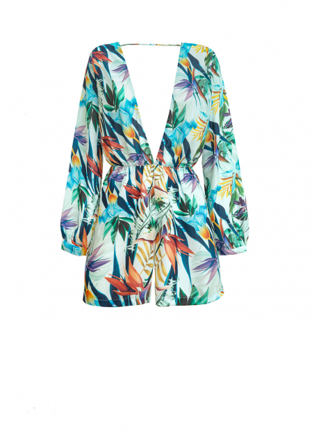 FLORAL SHORT JUMPSUIT WITH LARGE NECKLINE