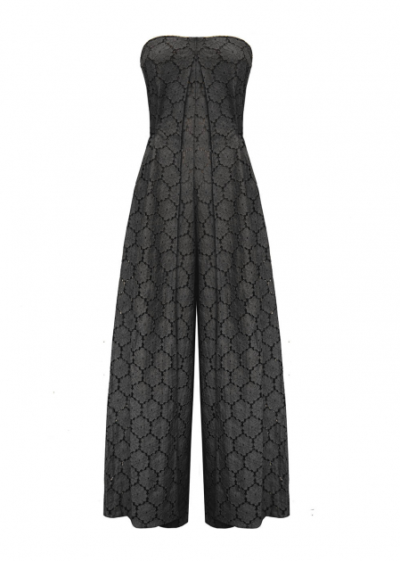 WIDE JUMPSUIT IN BLACK MACRAME'