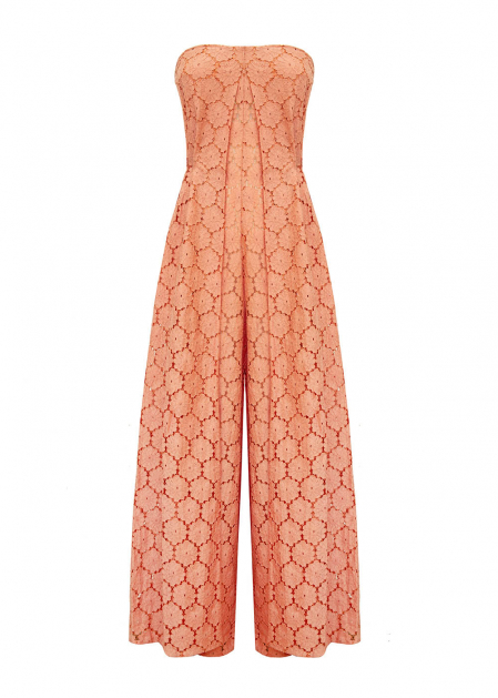 WIDE JUMPSUIT IN PEACH MACRAME'