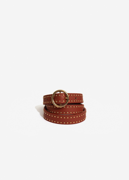 THIN TERRACOTTA BELT WITH GOLD STUDS II