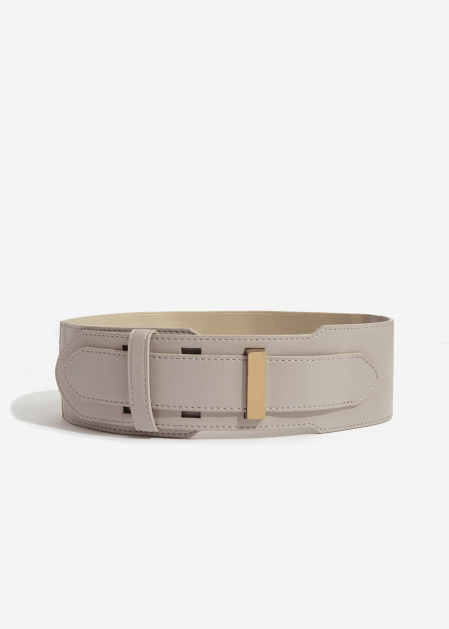 HIGH-WAIST IVORY BELT WITH ELASTIC DETAIL