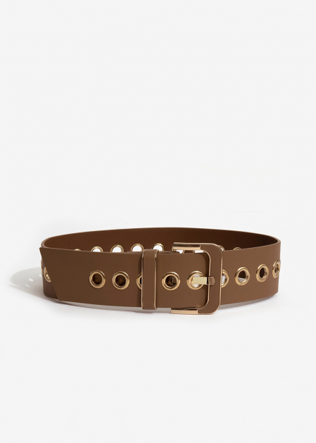 HIGH-WAIST BROWN BELT WITH GOLD EYELETS I