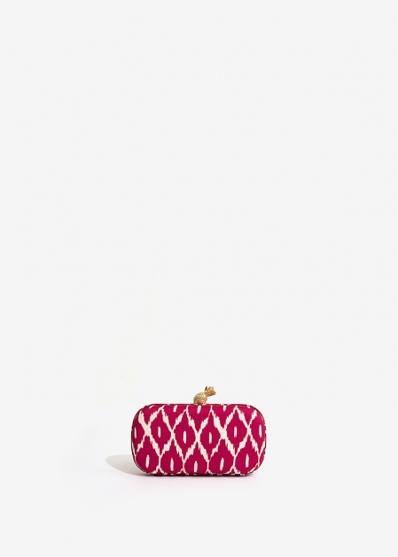 FUCHSIA WHITE PRINTED FABRIC CLUTCH WITH PINEAPPLE