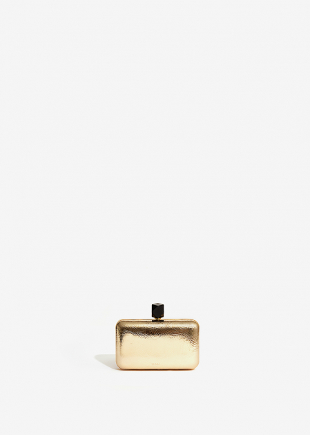 METALLIC GOLD CLUTCH WITH BLACK STONE