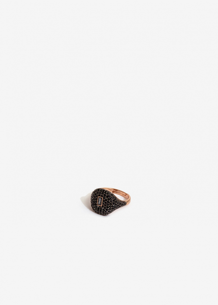 GOLD CHEVALIER RING WITH BLACK CRYSTALS